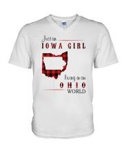 IOWA GIRL LIVING IN OHIO WORLD V-Neck T-Shirt thumbnail