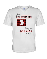 JERSEY GIRL LIVING IN WYOMING WORLD V-Neck T-Shirt thumbnail