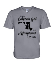 JUST A CALIFORNIA GIRL IN A MARYLAND WORLD V-Neck T-Shirt thumbnail