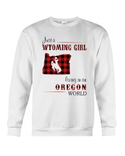 WYOMING GIRL LIVING IN OREGON WORLD Crewneck Sweatshirt thumbnail