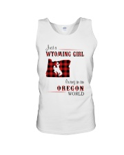 WYOMING GIRL LIVING IN OREGON WORLD Unisex Tank thumbnail