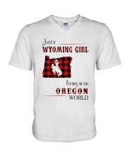 WYOMING GIRL LIVING IN OREGON WORLD V-Neck T-Shirt thumbnail
