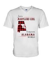 MARYLAND GIRL LIVING IN ALABAMA WORLD V-Neck T-Shirt thumbnail