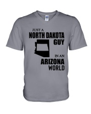JUST A NORTH DAKOTA GUY IN AN ARIZONA WORLD  V-Neck T-Shirt thumbnail