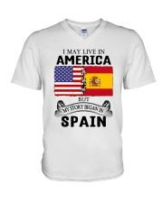 LIVE IN AMERICA BEGAN IN SPAIN ROOT  V-Neck T-Shirt thumbnail