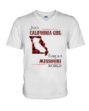 CALIFORNIA GIRL LIVING IN MISSOURI WORLD V-Neck T-Shirt thumbnail