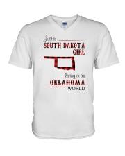 SOUTH DAKOTA GIRL LIVING IN OKLAHOMA WORLD V-Neck T-Shirt thumbnail