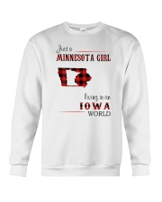 MINNESOTA GIRL LIVING IN IOWA WORLD Crewneck Sweatshirt thumbnail