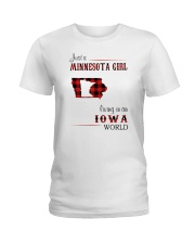 MINNESOTA GIRL LIVING IN IOWA WORLD Ladies T-Shirt thumbnail