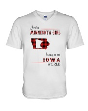 MINNESOTA GIRL LIVING IN IOWA WORLD V-Neck T-Shirt thumbnail
