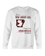 JERSEY GIRL LIVING IN ARKANSAS WORLD Crewneck Sweatshirt thumbnail