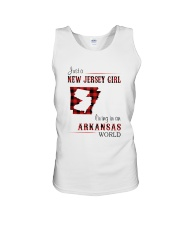 JERSEY GIRL LIVING IN ARKANSAS WORLD Unisex Tank thumbnail