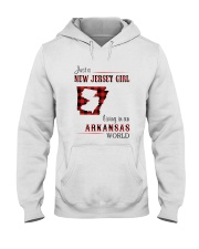 JERSEY GIRL LIVING IN ARKANSAS WORLD Hooded Sweatshirt thumbnail