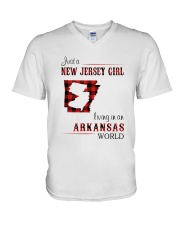 JERSEY GIRL LIVING IN ARKANSAS WORLD V-Neck T-Shirt thumbnail