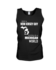 JUST A JERSEY GUY LIVING IN MICHIGAN WORLD Unisex Tank thumbnail