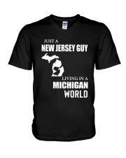 JUST A JERSEY GUY LIVING IN MICHIGAN WORLD V-Neck T-Shirt thumbnail