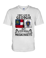 LIVE IN GEORGIA BEGAN IN MASSACHUSETTS V-Neck T-Shirt thumbnail