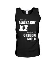 JUST AN ALASKA GUY LIVING IN OREGON WORLD Unisex Tank thumbnail