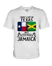 LIVE IN TEXAS BEGAN IN JAMAICA V-Neck T-Shirt thumbnail