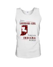 LOUISIANA GIRL LIVING IN INDIANA WORLD Unisex Tank thumbnail