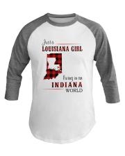 LOUISIANA GIRL LIVING IN INDIANA WORLD Baseball Tee thumbnail
