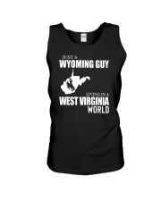 JUST A WYOMING GUY LIVING IN WV WORLD Unisex Tank thumbnail