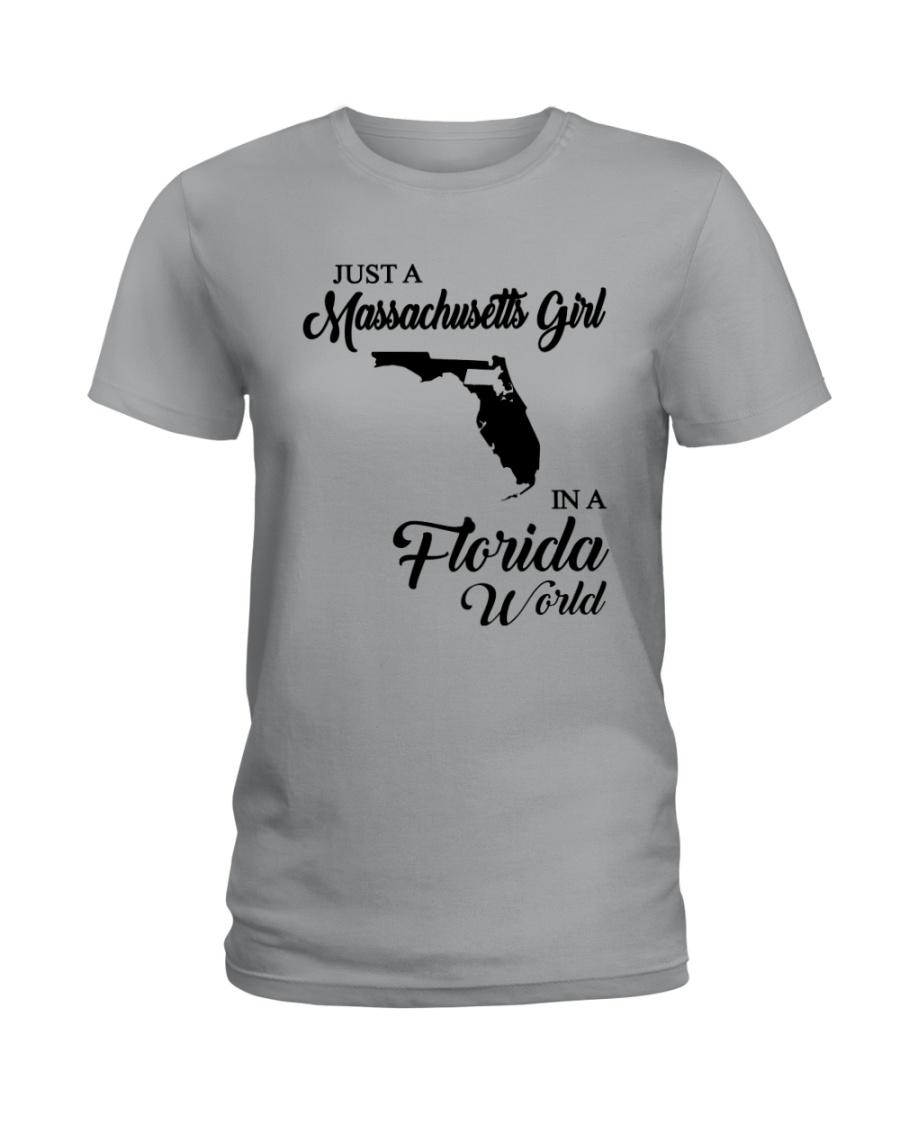 JUST A MASSACHUSETTS GIRL IN A FLORIDA WORLD Ladies T-Shirt