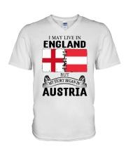 LIVE IN ENGLAND BEGAN IN AUSTRIA ROOT WOMEN V-Neck T-Shirt thumbnail