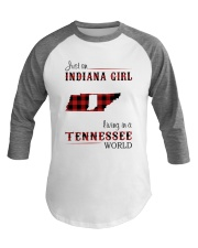 INDIANA GIRL LIVING IN TENNESSEE WORLD Baseball Tee thumbnail