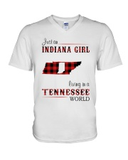 INDIANA GIRL LIVING IN TENNESSEE WORLD V-Neck T-Shirt thumbnail