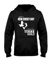 JUST A JERSEY  GUY LIVING IN A TEXAS WORLD  Hooded Sweatshirt thumbnail