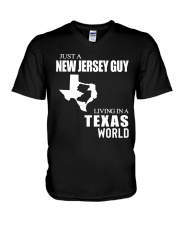 JUST A JERSEY  GUY LIVING IN A TEXAS WORLD  V-Neck T-Shirt thumbnail
