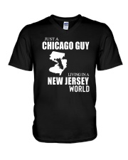 JUST A CHICAGO GUY LIVING IN JERSEY WORLD V-Neck T-Shirt thumbnail