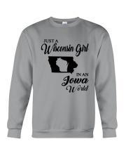 JUST A WISCONSIN GIRL IN AN IOWA WORLD Crewneck Sweatshirt thumbnail