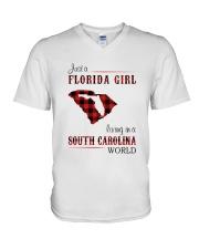 FLORIDA GIRL LIVING IN SOUTH CAROLINA WORLD V-Neck T-Shirt thumbnail