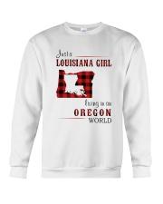 LOUISIANA GIRL LIVING IN OREGON WORLD Crewneck Sweatshirt thumbnail