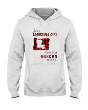 LOUISIANA GIRL LIVING IN OREGON WORLD Hooded Sweatshirt thumbnail