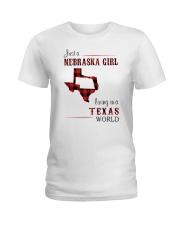 NEBRASKA GIRL LIVING IN TEXAS WORLD Ladies T-Shirt thumbnail