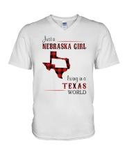 NEBRASKA GIRL LIVING IN TEXAS WORLD V-Neck T-Shirt thumbnail