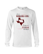 NEBRASKA GIRL LIVING IN TEXAS WORLD Long Sleeve Tee thumbnail