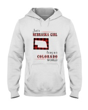 NEBRASKA GIRL LIVING IN COLORADO WORLD Hooded Sweatshirt thumbnail