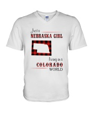 NEBRASKA GIRL LIVING IN COLORADO WORLD V-Neck T-Shirt thumbnail