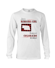 NEBRASKA GIRL LIVING IN COLORADO WORLD Long Sleeve Tee thumbnail