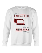 KANSAS GIRL LIVING IN NEBRASKA WORLD Crewneck Sweatshirt thumbnail