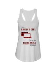 KANSAS GIRL LIVING IN NEBRASKA WORLD Ladies Flowy Tank thumbnail