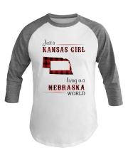 KANSAS GIRL LIVING IN NEBRASKA WORLD Baseball Tee thumbnail