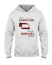 KANSAS GIRL LIVING IN NEBRASKA WORLD Hooded Sweatshirt thumbnail