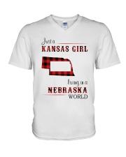 KANSAS GIRL LIVING IN NEBRASKA WORLD V-Neck T-Shirt thumbnail