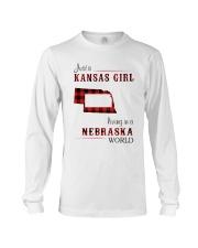 KANSAS GIRL LIVING IN NEBRASKA WORLD Long Sleeve Tee thumbnail
