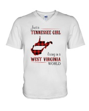 TENNESSEE GIRL LIVING IN WEST VIRGINIA WORLD V-Neck T-Shirt thumbnail
